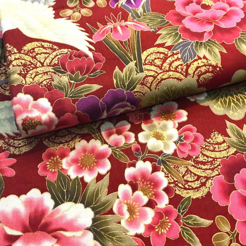 tissu japonais motif traditionnel grue