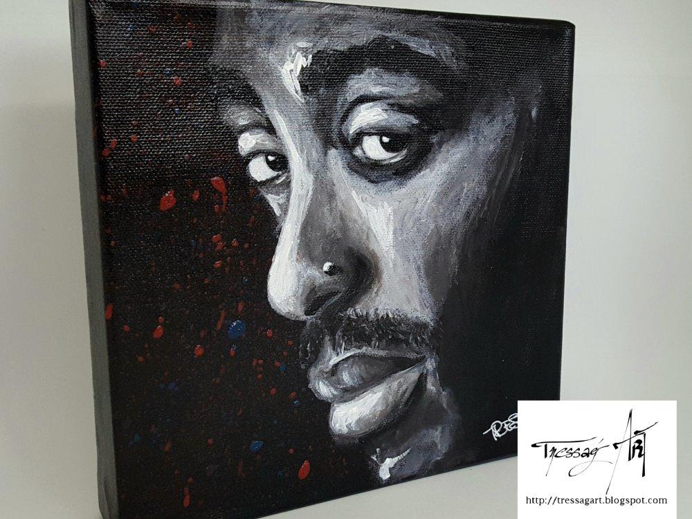 Tableau Peinture Acrylique Portrait Tupac Noir Et Blanc 20 X 20 Cm Un Grand Marche