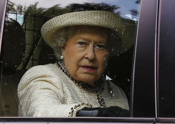 Britain's Queen Elizabeth leaves the annual Braemar Highland Gathering in Braemar, Scotland