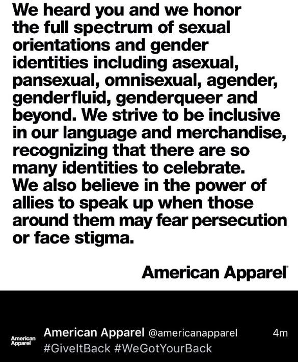 #GiveItBack American Apparel Allyship