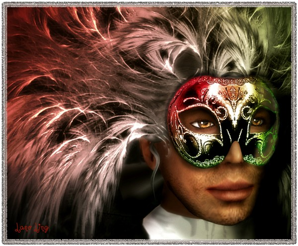 Beo with feather mask by Lano