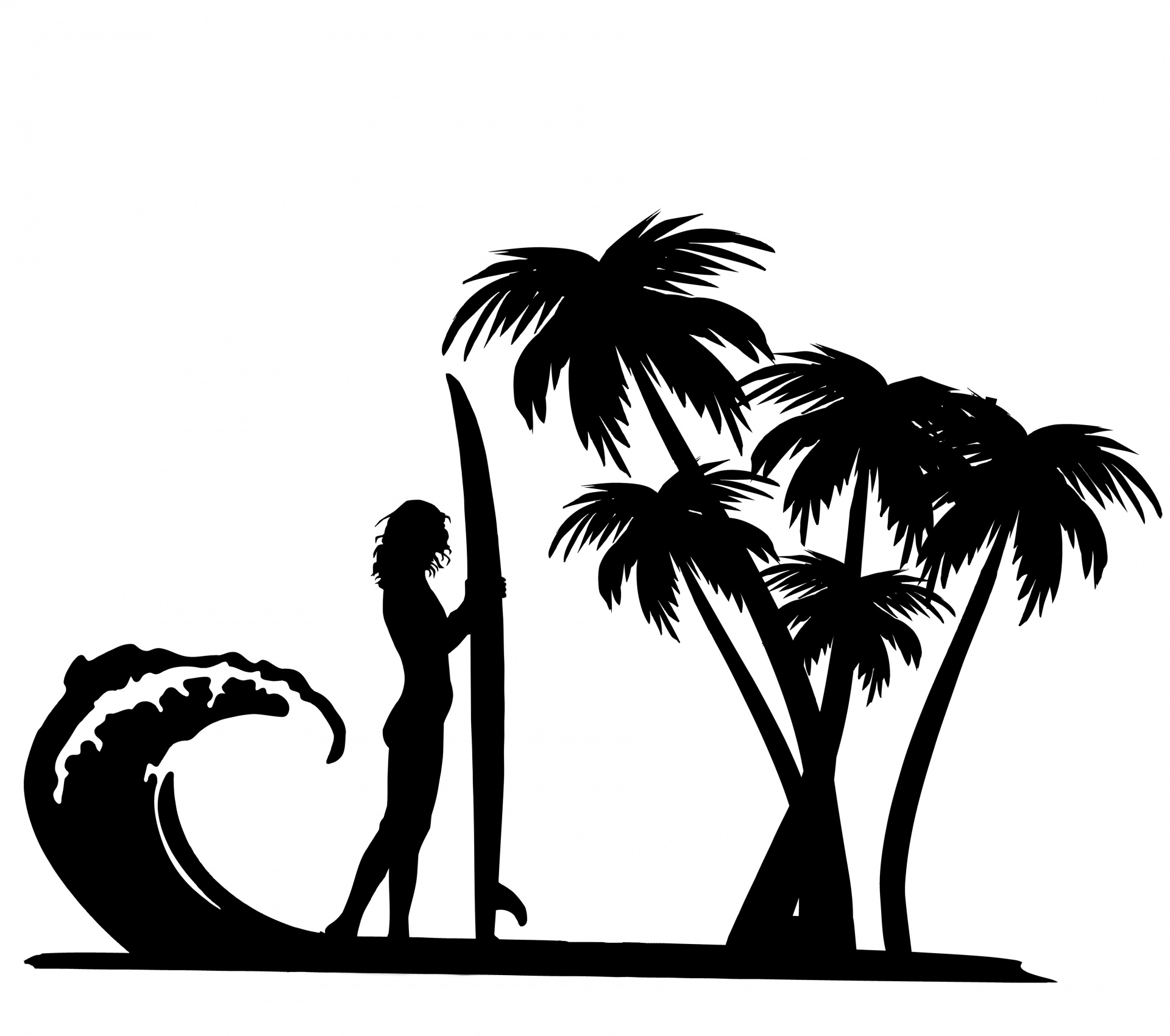 Surfer Surf Board Palm Tree Trees