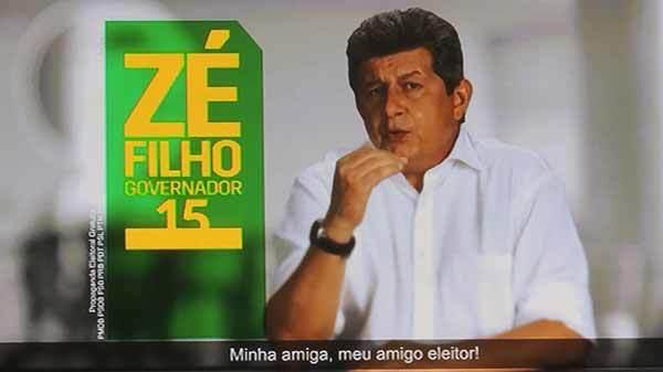 Ex-governador Zé Filho, durante um dos seus programas eleitorais, candidato à reeleição