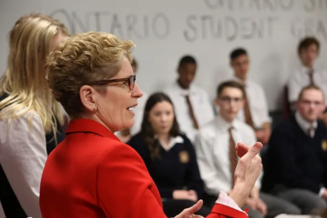 Ontario Premier Kathleen Wynne speaks to students at Regiopolis-Notre Dame Catholic High School about reforms to the student loan system on Thursday, March 31, 2016. Elliot Ferguson/The Whig-Standard/Postmedia Network