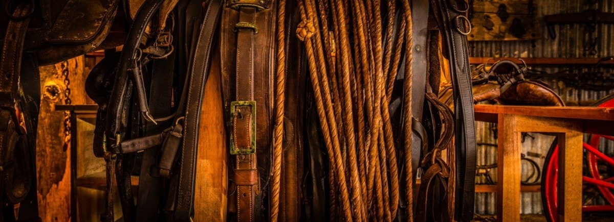 The Ultimate Land Rover Road Trip Around Australia Henry Brydon, riding tackle, leather belt, straps, rope, brown, shed