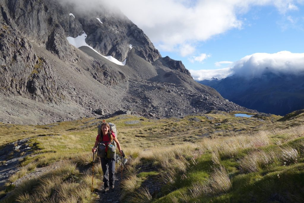 Climbing up to Travers Saddle_Nelson Lakes LAURA WATERS new zealand