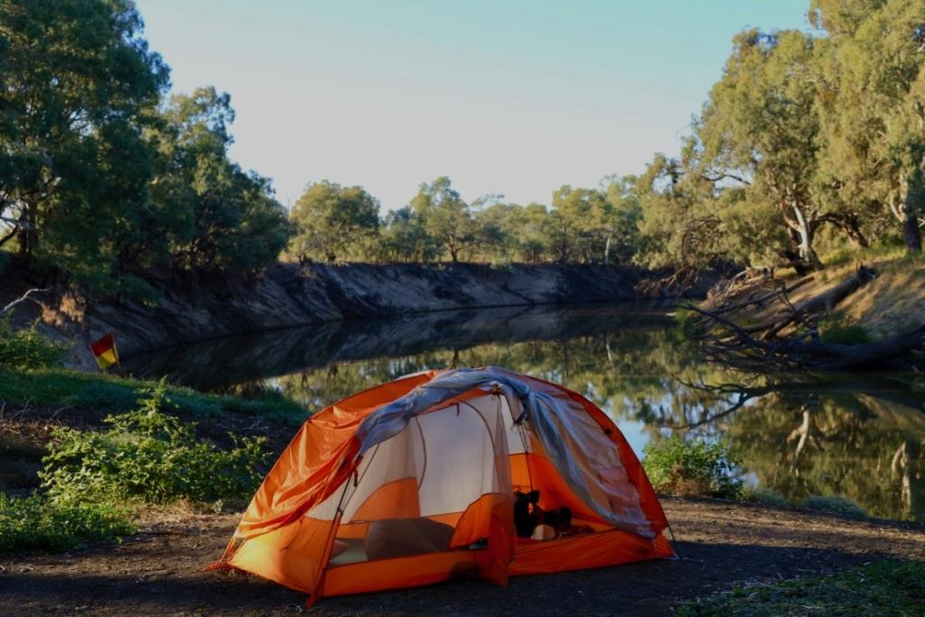Outback and Back, Ross Clayton, Emily Franke, NSW, tent, billabong, camping