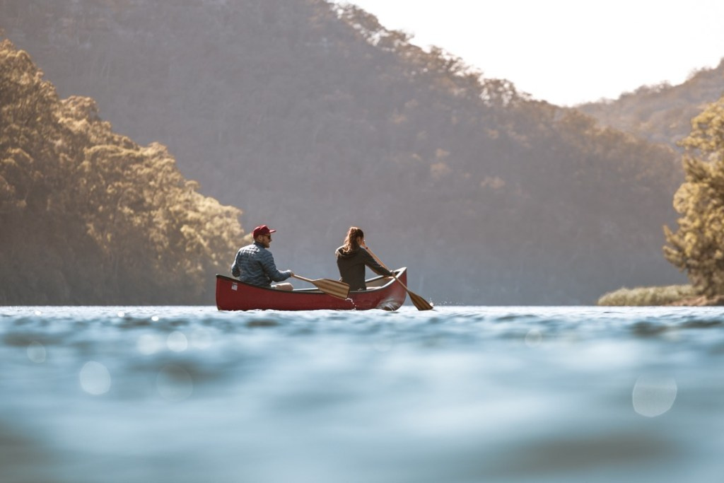 tim clark, lake yarrunga, shoalhaven, nsw, canoe, 2 people, paddling, hero