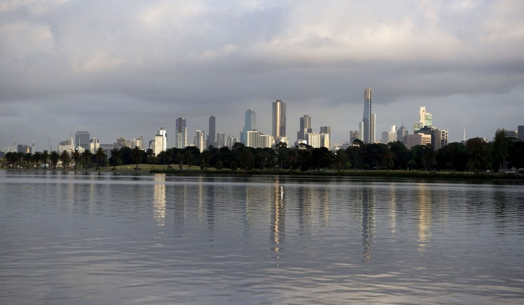 Seven Super Sweet Fishing Spots Near Melbourne Mark Kayak Guru Albert Park Lake, skyline, cityscape, lake water, glassy, reflection, buildings