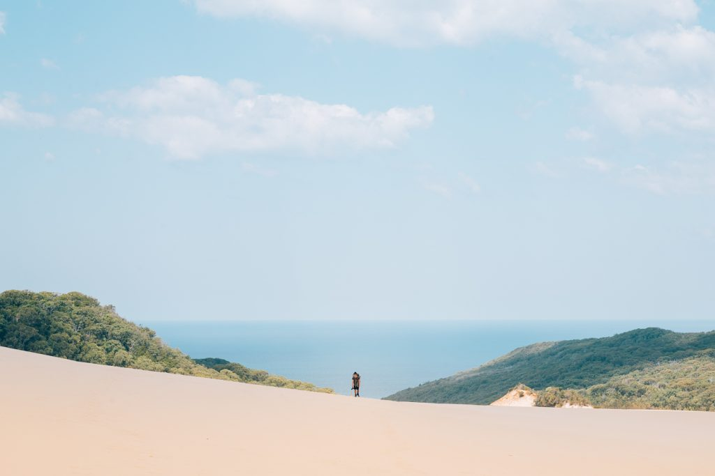 In Search Of A Rainbow // The Cooloola Great Walk (QLD) Jesse Lindemann, hiker, sand dunes, ocean, horizon, sky, hero