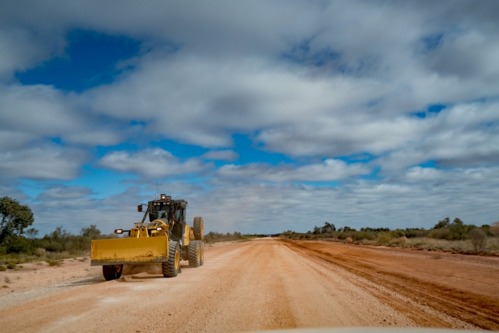 outback way, road trip, red centre, story, grader