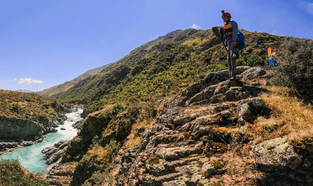 Ode To The River // Canyoning And Packrafting In New Zealand, Xavier Anderson, rocks, rapids, person, lookout