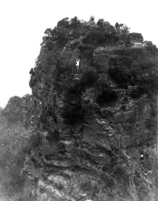 Queensland climber Muriel Patten becomes the first women to climb the First Sister, Katoomba, 1934. Bert Salmon is above her as both solo the climb , climbing history australia