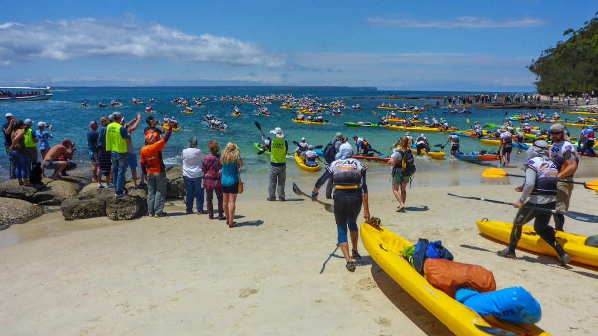 Adventure Racing 101 // How, What, Why...And Why Again? Emily Rowbotham, photo by David Barlow, Race start David Barlow, kayaks, packed, loaded, busy, crowded, beach, ocean,