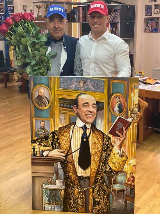 Велика людина Рабінович, - Ківа подарував однопартійцю портрет на тлі Миколи ІІ і Наполеона 01