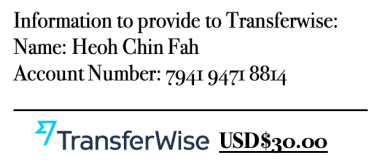 Payment via Transferwise - Heoh Chin Fah