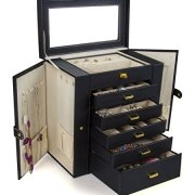 Kendal Huge Leather Jewelry Box/Case / Storage LJC-SHD5BK (Black)