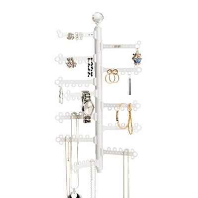 All Hung Up 12-Tier Extra Capacity Wall Mounted Hanging Jewelry Organizer - Display Everything - Save Space - Tall Storage Holder - Long Necklaces, Earrings (110 Pairs), Rings, Bracelets - White