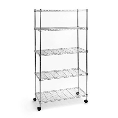 Seville Classics 5-Tier UltraZinc Steel Wire Shelving /w Wheels