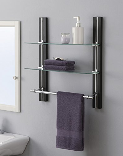 Organize It All Mounted 2 Tier Adjustable Tempered Glass Shelf with Chrome Towel Bar