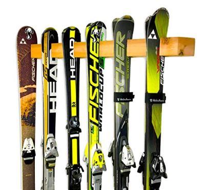 Handcrafted Ski Storage Rack   Holds 6 Pairs   Cedar Wood Ski Display