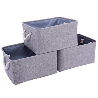 TheWarmHome Storage Bins Baskets for Shelves|Fabric Storage Bins for Cloth Storage [3-Pack]Storage Baskets for Closet Storage,Toy Basket for Gifts
