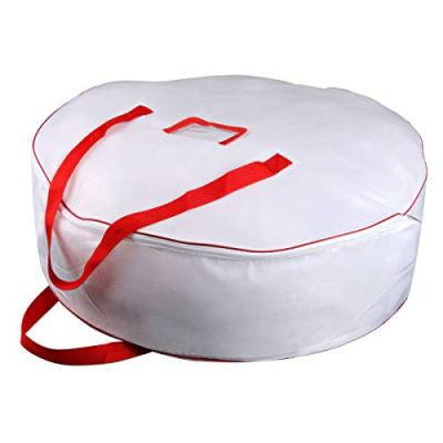 """Christmas Wreath Storage Bag - Xmas Large Wreath Container - Reinforced Wide Handle and Double Sleek Zipper - Heavy Duty Protect Your Holiday Advent, Garland, Party Decorations and Ornaments 30"""",White"""