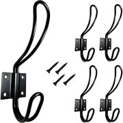 TheTimeBus 5-Pack Big Double Coat Hooks (Black)