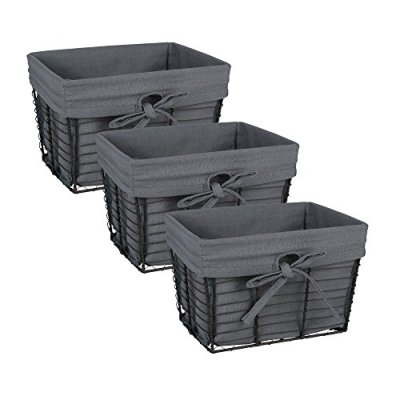 DII Vintage Grey Wire Basket Removable Fabric Liner, Set of 3, Gray