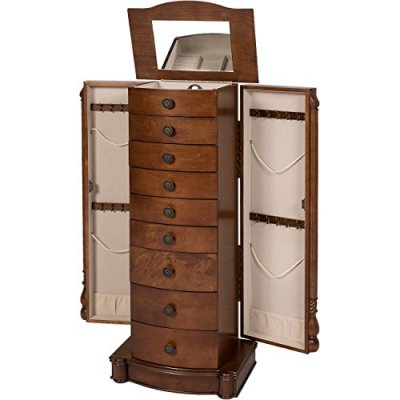 Best Choice Products Armoire Cabinet Box Storage Chest Stand Organizer Necklace Wood Walnut