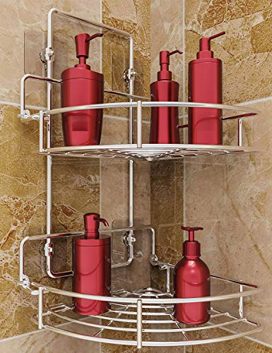 Vdomus Strong Shower Caddy 2 Tier Bathroom Corner Shelf Organizer Polished Chrome No Drilling Needed Basket Holder Wall Mounted for Kitchen