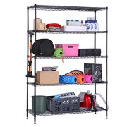 LANGRIA 5 Tier Garage Shelving Shelving Unit, Storage Rack Garage Shelf Heavy Duty Metal Shelves, Black