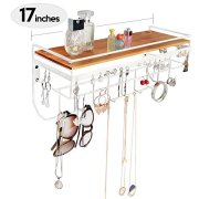 JackCubeDesign Hanging Jewelry Organizer Necklace Hanger Bracelet Holder Wall Mount Necklace Organizer with 9 Hooks and Bamboo Support(White,16.9 x 5.9 x 7.1 inches) - :MK237B