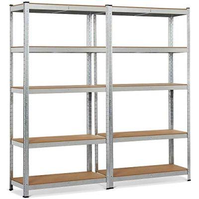 "Topeakmart 5 Tier Storage Rack Heavy Duty Adjustable Garage Shelf Steel Shelving Unit,71""Height (2 Bay Garage Shelf)"