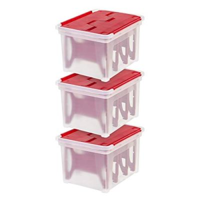 IRIS USA, WFB-45LW, Wing-Lid Storage Box with 4 Light Wraps, Red, 3 Pack