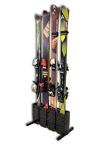 StoreYourBoard Ski Storage Rack | 4 Pair Freestanding Skis Floor Mount (Wide Skis)