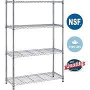 4Shelf Wire Shelving Unit Garage NSF Wire Shelf Metal Storage Shelves Heavy Duty Height Adjustable for 1000 LBS Capacity,Chrome