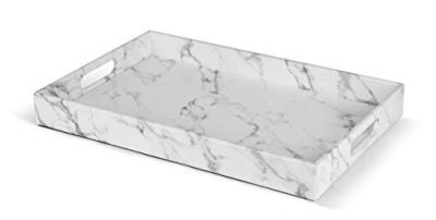 Rectangle Marble Faux Leather Decorative Ottoman Coffee Table