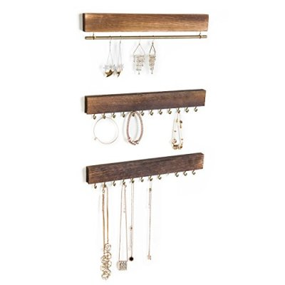MyGift Set of 3 Rustic Wood & Gold Tone Metal Jewelry Organizers