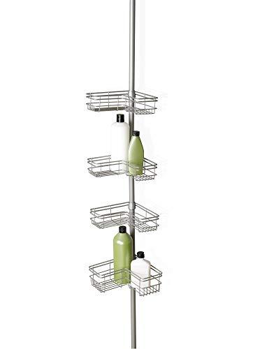 Zenna Home Tension Corner Pole Caddy, Satin Nickel