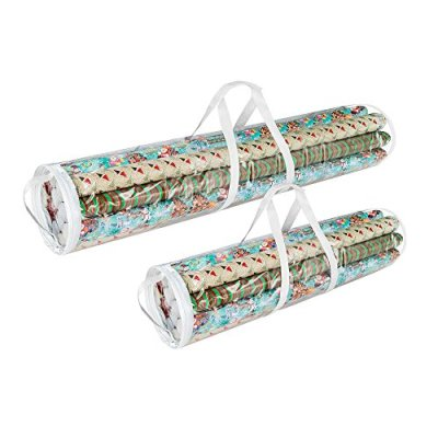 """Elf Stor 798976 Christmas Birthday Holiday Storage Set of 2   Holds 40"""" & 31"""" Wrapping Paper Rolls, One Bag for Each, 1 Pack Clear"""