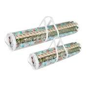 "Elf Stor 798976 Christmas Birthday Holiday Storage Set of 2 | Holds 40"" & 31"" Wrapping Paper Rolls, One Bag for Each, 1 Pack Clear"