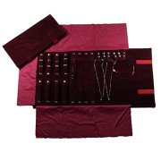 UnionPlus Velet Travel Jewelry Case Roll Bag Organizer for Necklace Bracelet Earrings Ring, Burgundy (Large Burgundy)