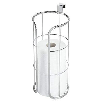 mDesign Modern Over The Tank Hanging Toilet Tissue Paper Roll Holder and Reserve for Bathroom Storage - Stores 3 Extra Rolls, Holds Jumbo-Sized Rolls - Durable Metal Wire - Chrome