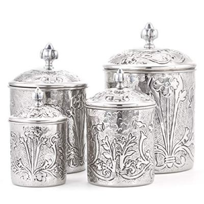 Stainless Steel Canister set One Size Antique Pewter