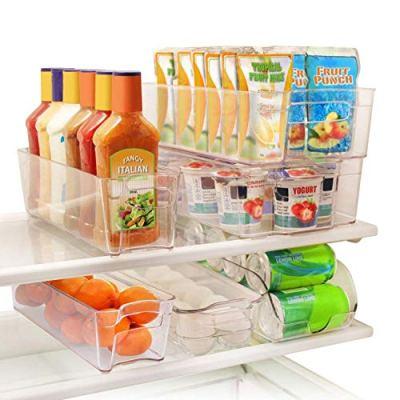 Greenco GRC0250 6 Piece Refrigerator and Freezer Stackable Storage Organizer Bins with Handles, Clear