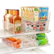 Greenco GRC0250 6 Piece Refrigerator and Freezer Stackable Storage Organizer Bins with Handles, Clear