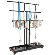 Modern Black Metal 3 Tier Tabletop Bracelet & Necklace Jewelry Organizer Display Tree Rack w/Ring Tray