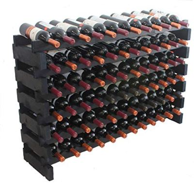 Black, Stackable Modular Wine Rack Stackable Storage Stand Display Shelves, Wobble-Free, Pine Wood (6 Rows, 72 Bottle Capacity)