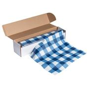 Blue Plastic Tablecloth Roll - 98 Feet x 54 Inches Disposable Table Cover On a Roll with Self-Cutter Box Dispenser, Fits 4.5 Feet Wide Tables, Picnic, Indoor Outdoor Party Supplies, Blue Gingham